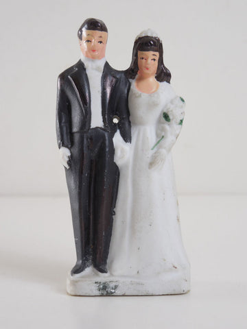 Vintage 1940 Art Deco Bride and Groom Bisque Wedding Cake Topper Swing Era