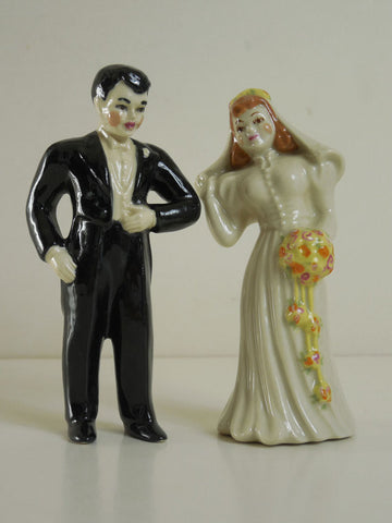 Sold! VTG 1940 Rare Ceramic Arts Studio Bride and Groom Wedding Cake Topper