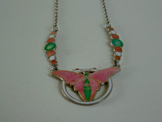 SOLD! Antique Estate Vintage Art Deco Rare Sterling Enamel Butterfly Bubbles Necklace