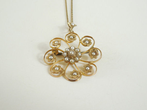 SOLD! Antique Estate Vintage Victorian Edwardian 10K Gold Seed Pearl Pendent Necklace