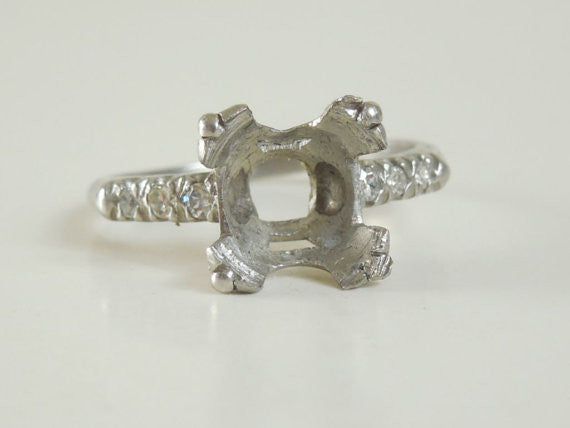 SOLD! Antique Estate Vintage 1930 Diamond Platinum Setting Ring Holds a 3 to 4 Carat