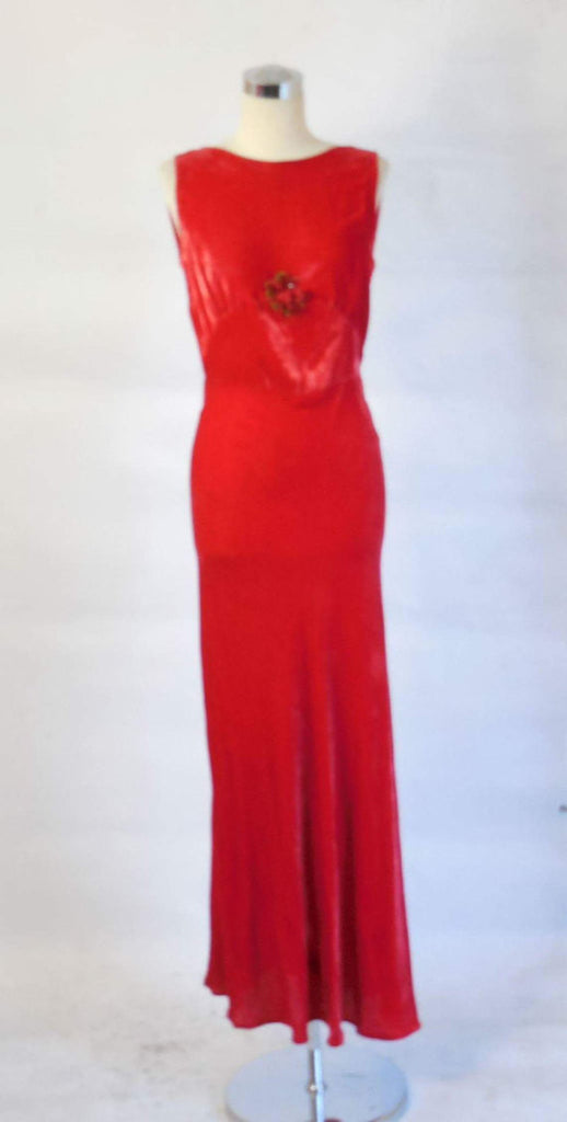 1930 Vintage Art Deco Red Silk Velvet Gown