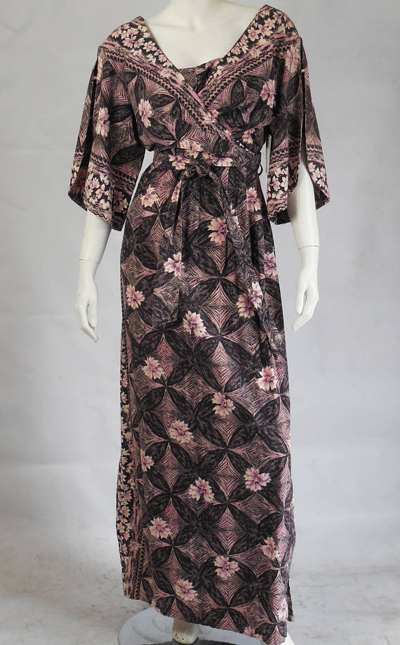 SOLD! 1950 1960 Nani of Hawaii Cotton Floral Maxi Dress Wedding Large Size