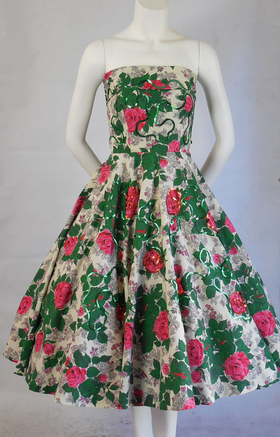 SOLD! 1950 Vintage Gorgeous Floral Full Skirt Strapless Halter Summer Dress Perfect