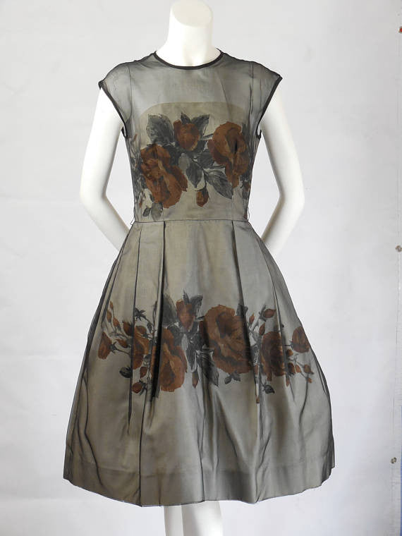 1950 1960 Vintage Elinor Gay Original Black Organza Over Rayon Bubble Dress with Rust Roses