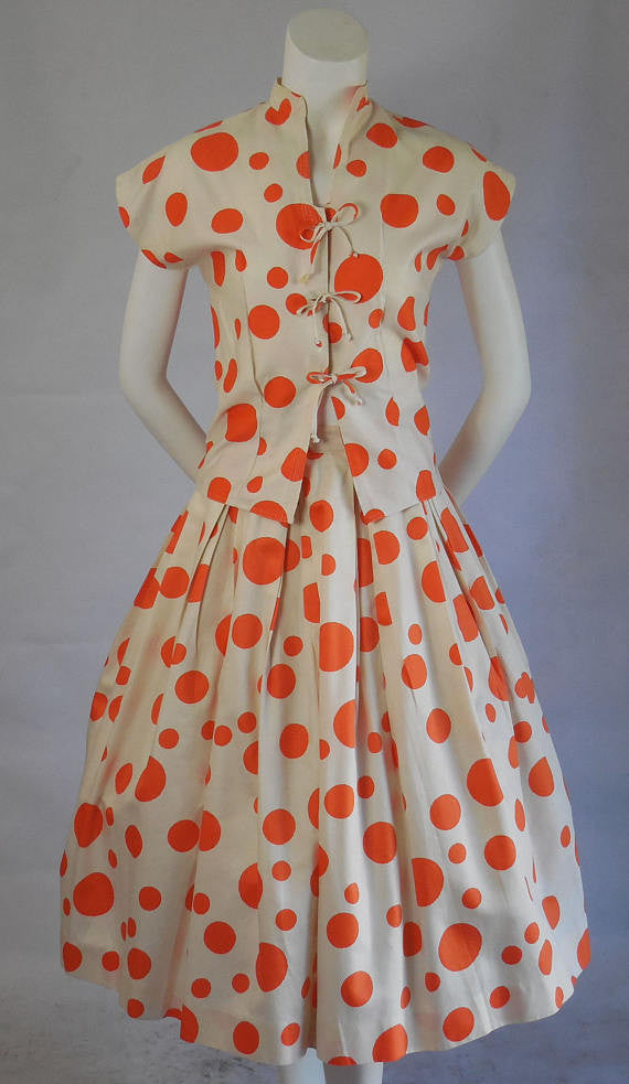 SOLD! 1950 Adelaar Vintage Polished Cotton Polka Dot Two Piece Pleated Full Skirt with Matching Blouse
