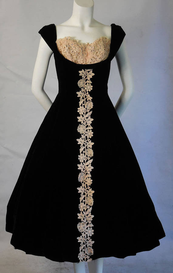 SOLD! 1950 Vintage Silk Velvet Party Cocktail Dress Shelf Bust Line Lace and Rhinestones
