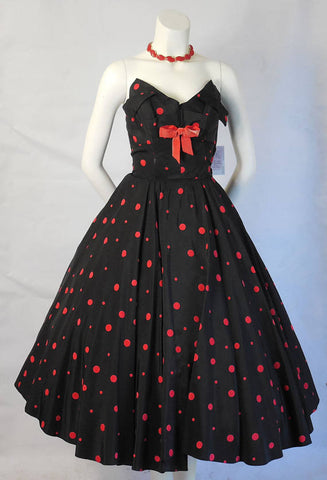 1950 Vintage Black Taffeta with Red Felt Polka Dots Party Cocktail Dress Shelf Bust Line