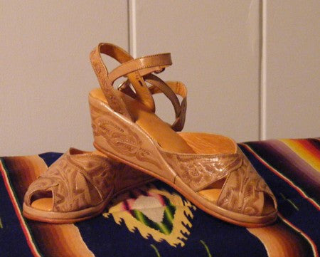 1940 Vintage Style Mexican Tooled Leather Handmade Wedge Sandal