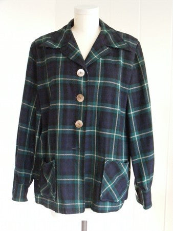 SOLD! 1940 1950 Original Vintage Pendleton Coat in Dark Green, Rockabilly Viva Las Vegas VLV