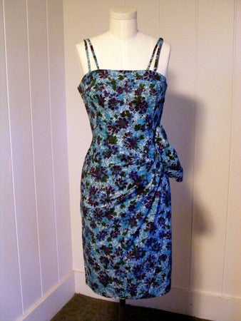 1940 1950 Vintage Blue Hawaiian Sarong Dress Rockabilly VLV Rockabilly Viva Las Vegas