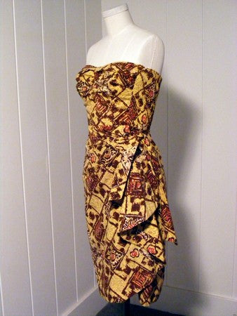 SOLD! 1950 1940 Yellow and Brown Hawaiian Sarong Dress Sweetheart top Rockabilly VLV Viva Las Vegas