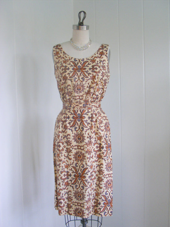 SOLD! 1950's Vintage Brown and Beige Print Rhinestone Wiggle Dress Rockabilly Cocktail Dress