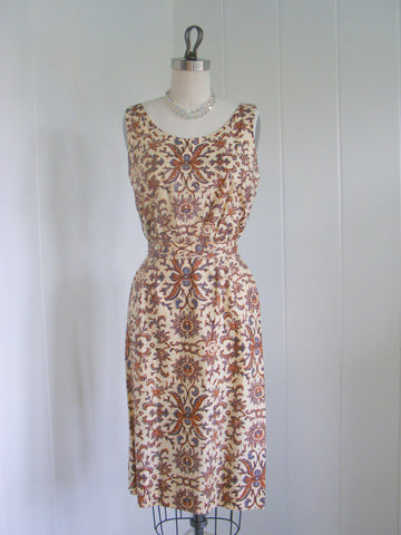 1950's Vintage Brown and Beige Print Rhinestone Wiggle Dress Rockabilly Cocktail Dress