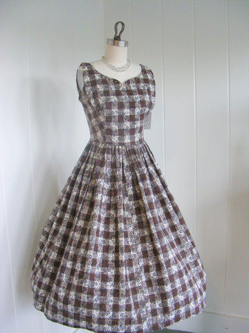 1950's Vintage Brown Checkered and Rhinestone Day Dress Rockabilly