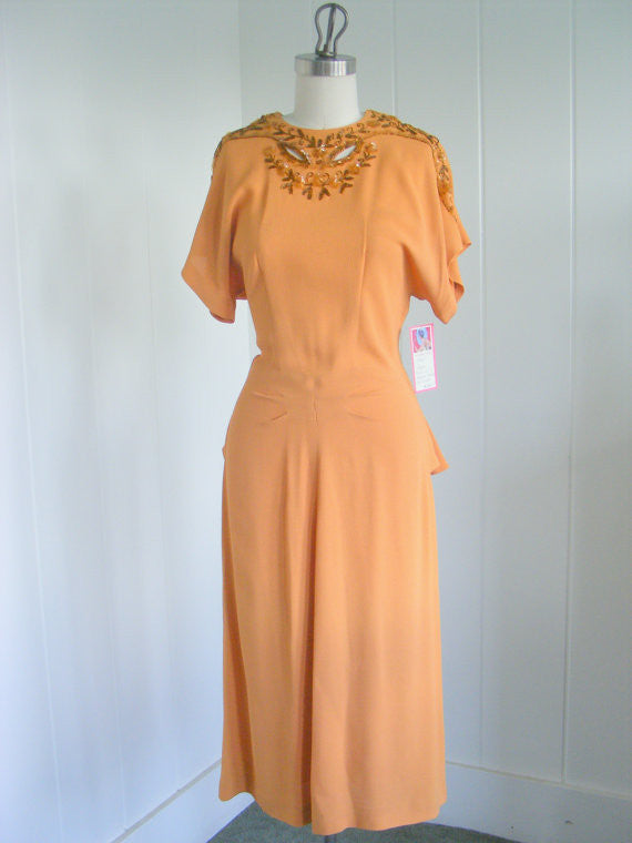 SOLD! 1940 Rayon Dress with Beaded Design