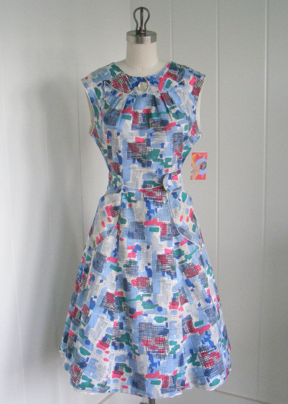 RESERVED 1940 Vintage Blue Wrap House Dress