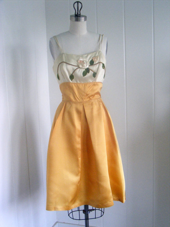 SOLD! 1950's Vintage Gold and Cream Cocktail Dress with Rose Applique