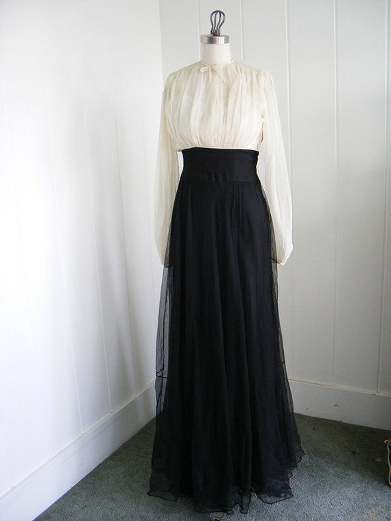 1930's/ 1940's Black and White Chiffon Dress By DCSB