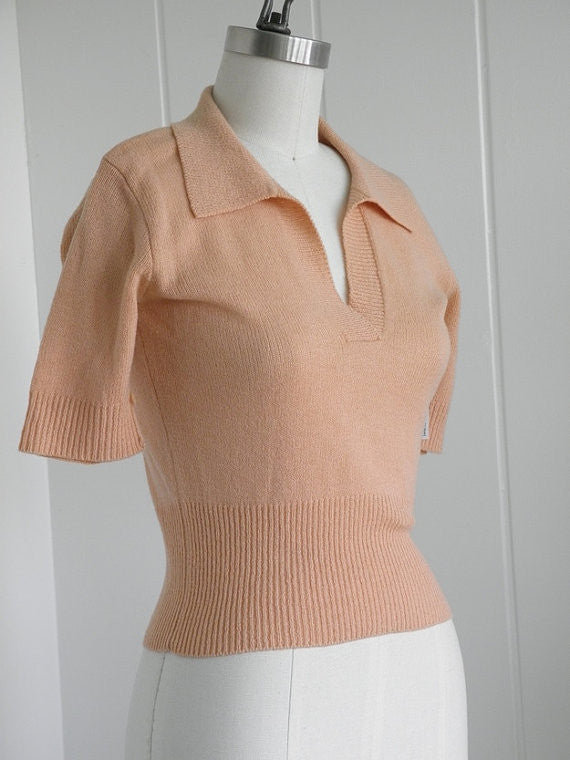 1950's Vintage Judy's Peach Sweater