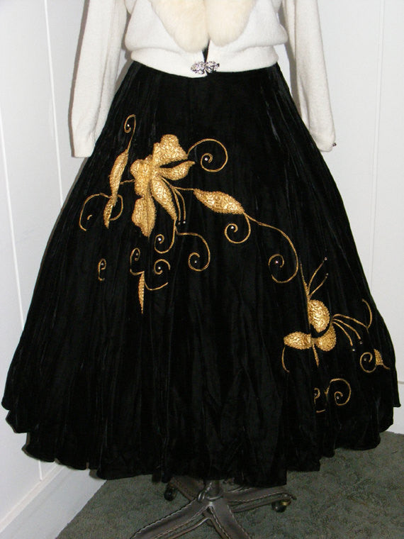 SOLD! 1940 1950 Vintage Silk Black Velvet Full Circle Skirt with Gold Lame Leaf Design Roping and Rhinestones