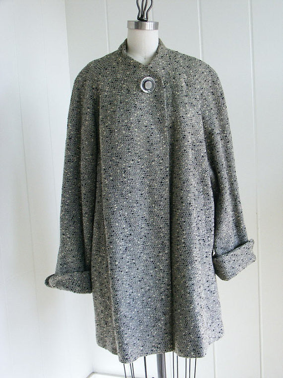 SOLD! 1950's Vintage Rothmoor Grey and Black Flecked Swing Coat M/L