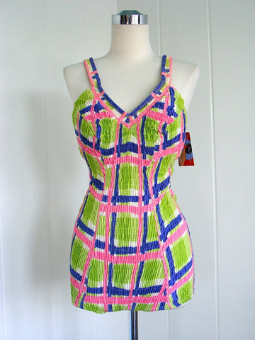l1960's Bright Green, Pink and Blue Plaid Swimsuit Bathing Suit with Low Back