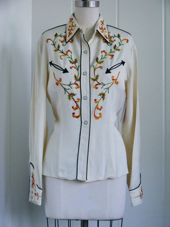 SOLD! 1940's Vintage Cream California Ranchwear Western Blouse