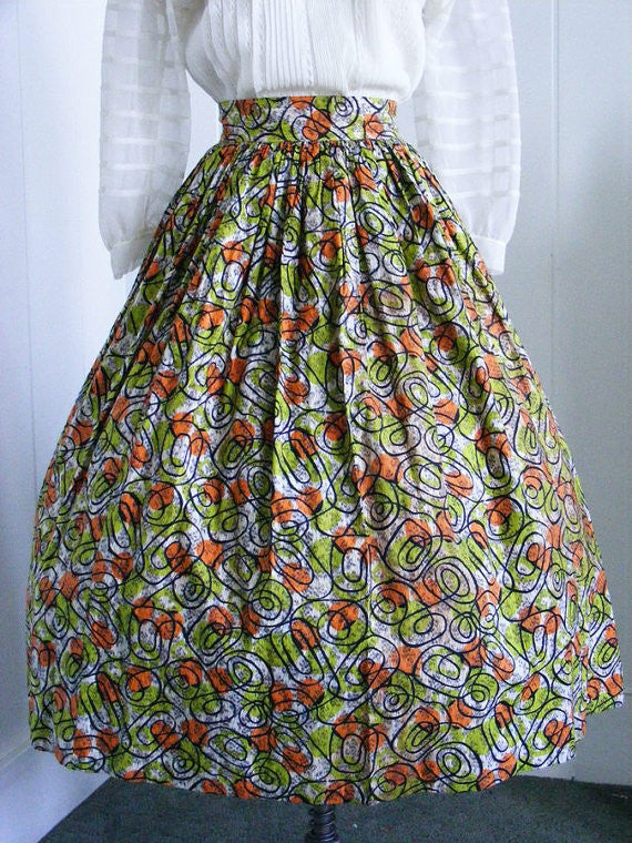 1940s/ 1950's VIntage Romp-N-Rest Green and Orange Full Skirt