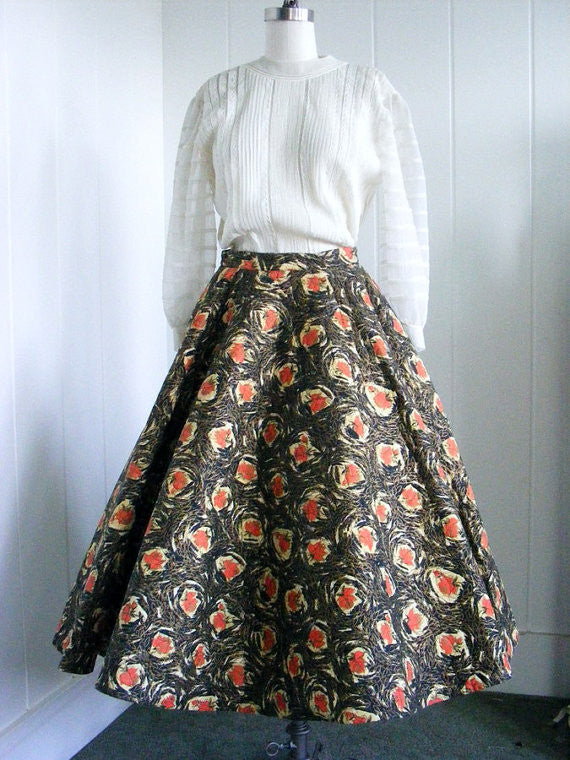 SOLD! 1950's Vintage Rare Quilted Paper Skirt in Black and Coral Design
