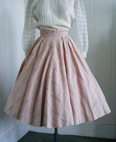 SOLD! 1950's Vintage Tailor Made Peach Gingham Cotton Skirt