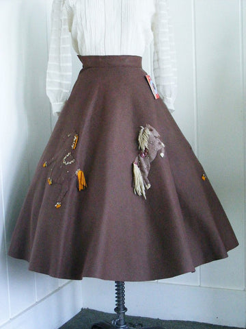 SOLD! 1950's Vintage Brown Felt Wild Horses Circle Skirt