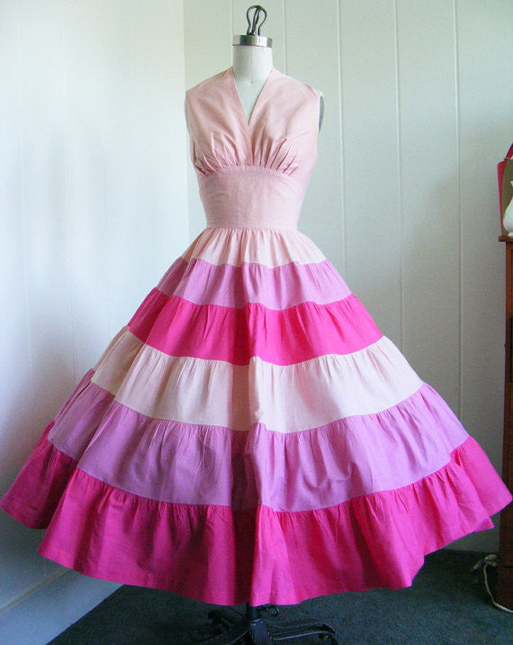 SOLD! 1950's Vintage Shades of Pink Halter Shelf Bust Dress Rockabilly VLV Viva Las Vegas