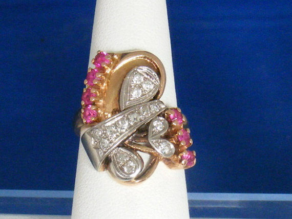 SOLD! Antique Estate Deco Retro 1940 Vintage 14K Gold Diamond Ruby Ring Comes w/ Appraisal
