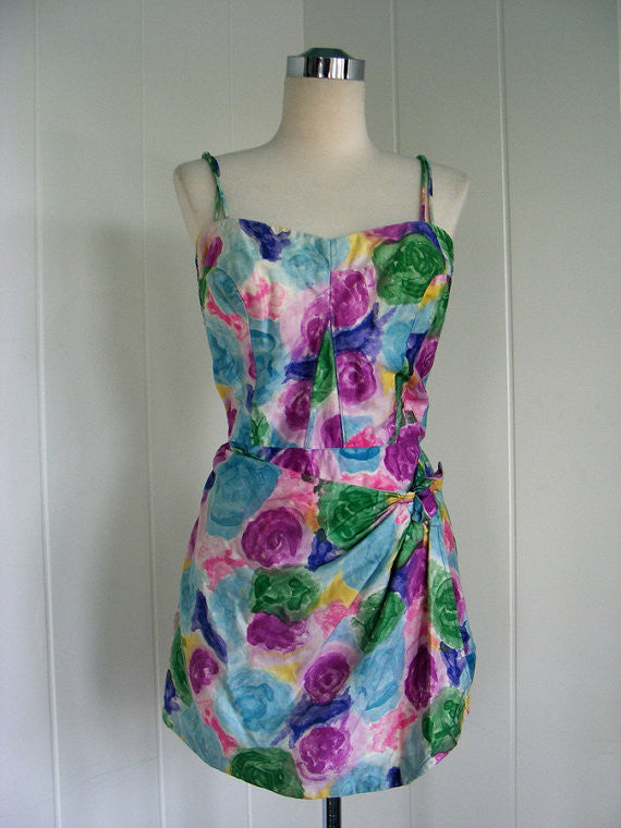 SOLD! 1950s Vintage Multi-Colored Floral Watercolor Sarong Swimsuit Playsuit VLV