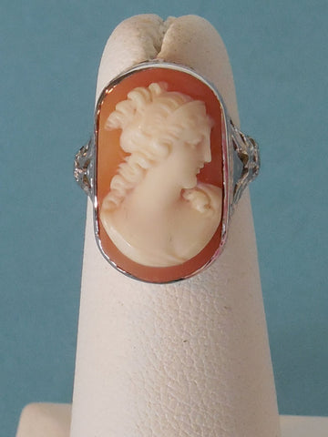 Antique Victorian Estate 1800'S - 1900'S Vintage 10k GOLD Cameo Filigree Ring