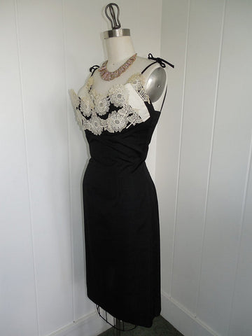 1950's Vintage Black Wiggle Dress with White Applique Flowers