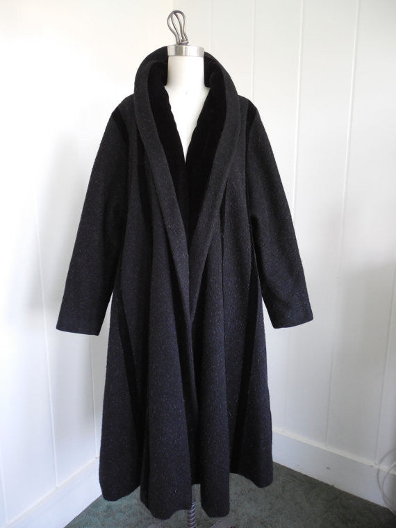 SOLD! 1950s Vintage Lilli Ann Black Mohair Wool and Velvet Tea Length Swing Coat
