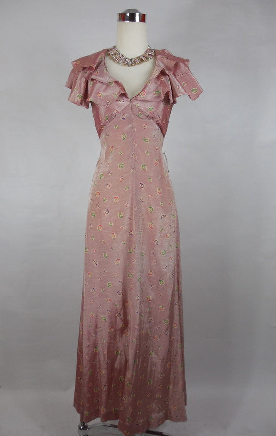 SOLD! 1930 1940 Vintage Pink Paisley Gown with Ruffled Halter