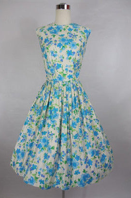 1950 1960's Vintage Ann Herbert Blue and White Floral Print Day Dress