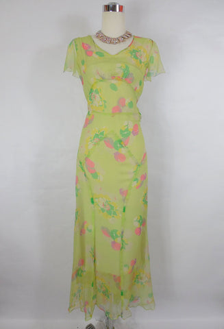1930's Vintage Green Chiffon Day Dress with Floral Print