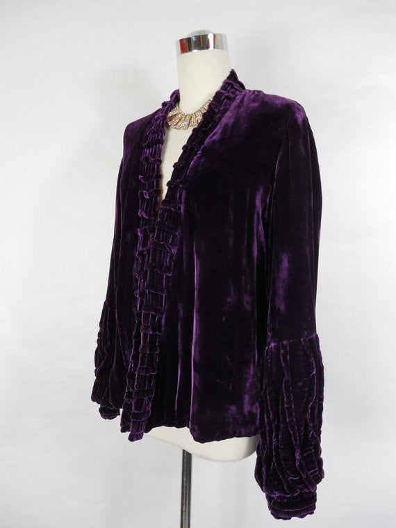 SOLD! 1930's Vintage Deep Purple Silk Velvet Evening Jacket
