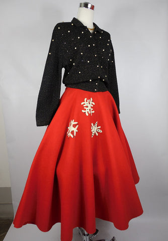 SOLD! 1950 Vintage Red Holiday Christmas Felt Snow Flake Skirt