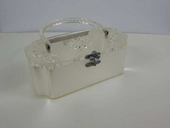 SOLD! All Original Vintage 1950 Charles S. Kahn Lucite Box Purse With Wonderful Pearl Design