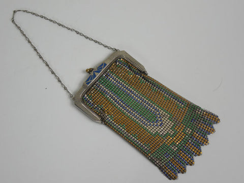 All Original Whiting and Davis Vintage Antique Estate Art Deco Enameled Steal Mesh 1900's 1920's Purse Original