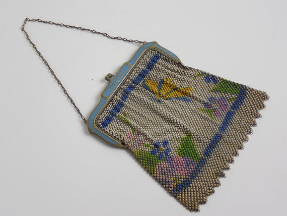 SOLD! All Original Whiting and Davis Vintage Antique Estate Steal Mesh 1900's 1920's Purse Butterfly Design Original