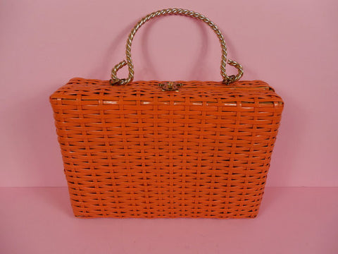 1950's Vintage Orange Basket Weave Box Purse