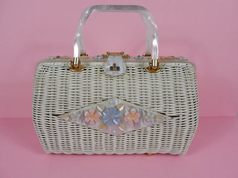 SOLD! 1950's White Basket Purse with Lucite Flowers