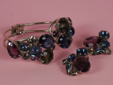 SOLD! 1950 D and E Juliana Sapphire Blue and Deep Purple Demi Parure Bracelet and Earring Set DeLizza and Elster