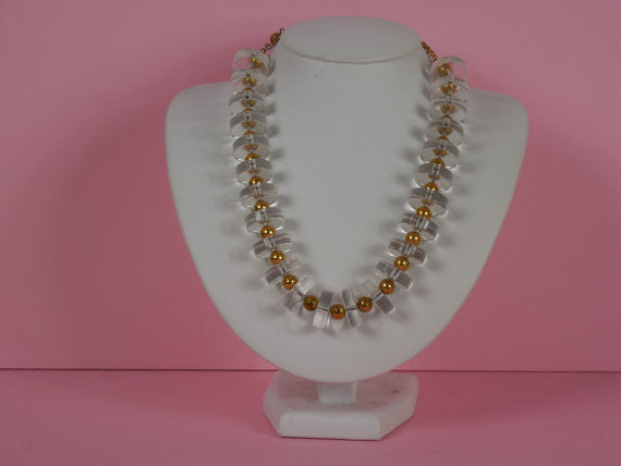 1940 Rare Lucite and Gold Tone Necklace
